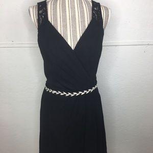 Davids Bridal Short V-neck Dress Lace Black prom